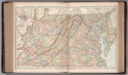 Map of Virginia, West Virginia, Maryland and Delaware. 101