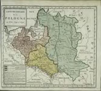 Carte des partages de la Pologne en 1772, 1793 et 1795