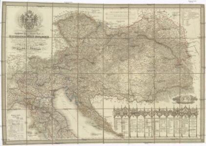 Neueste General- Post- und Strassen Karte der OEsterreichischen Monarchie