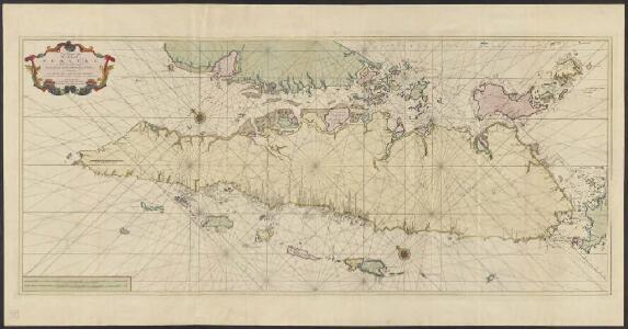 Zee-caart van het eyland Sumatra : met de straaten Malacca, Sincapoera, Banca en Sunda, en alle de daar onderhoorende eylanden, met derzelver bekende dieptens droogtens en ankergronden