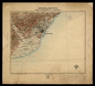 Carta geografica de la provincia 1:100 000: fulla no 15 / Diputació de Barcelona; Direcció de O.P. Provincials Jacinto Mumbrú, enginyer en C.C. i P.; dt. A. Ciurana; gt. V. Turell