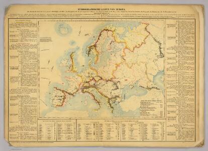 Hydrographische Karte von Europa.