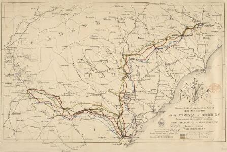 Map showing Route of Marches of the Army of Genl. W. T. Sherman from Atlanta, Ga. to Goldsboro, N. C. [Scale,] 50 st. miles[= 40 mm]