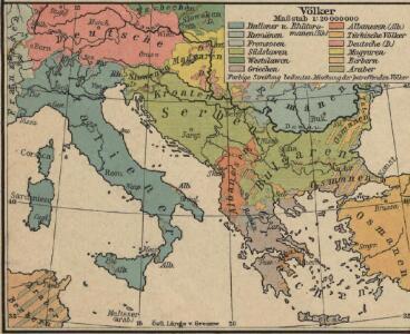 Italien und Balkanhalbinsel. Nebenkarten I. 1 Völker