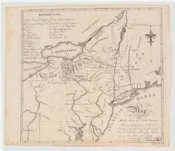 Map of the middle states of North America : shewing the position of the Geneseo country comprehending the counties of Ontario & Steuben as laid off in townships of six miles squar[e] each