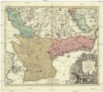 Nova tabula Scaniae, quae est Gothia australis provincias Scaniam, Hallandiam, et Blekingiam complectens