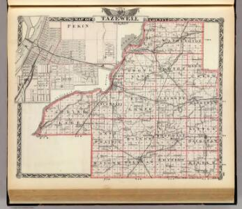 Map of Tazewell County and Pekin.