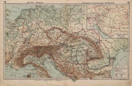 Mittel-Europa Österreich-Ungarn. Naturkarte