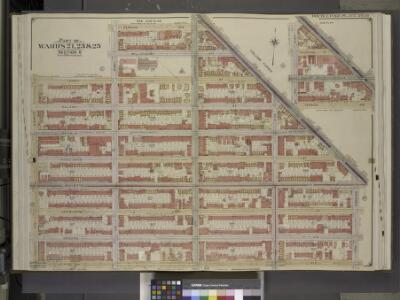 Brooklyn, Vol. 2, Double Page Plate No. 16; Part of   Wards 21, 23 & 25, Section 6; [Map bounded by Vernon Ave., Broadway, Patchen     Ave.; Including  Lexington Ave., Sumner Ave., Hart St., Lewis Ave.]; Sub Plan;   [Map bounded by Broadway, Vernon Av