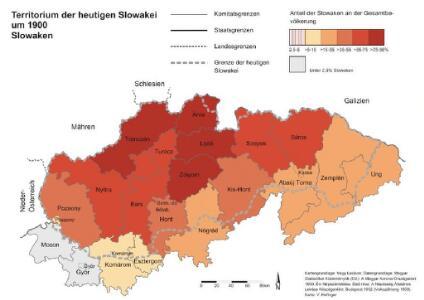 Territorium der heutigen Slowakei um 1900. Slowaken