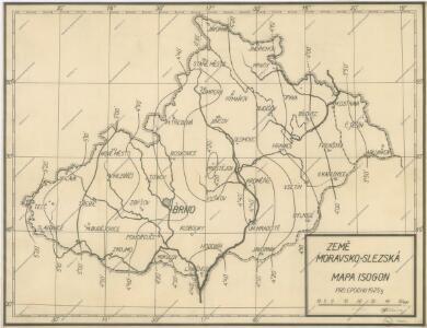 Čechy, mapa isogon pro epochu 1925.5, Zěmě Moravsko - Slezská, mapa Isogon