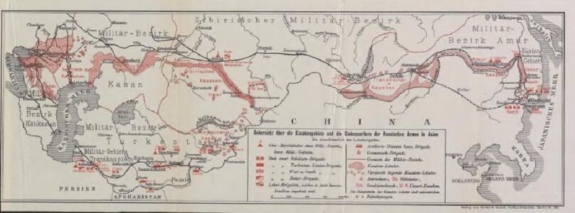 Uebersicht über die Kasakengebiete und die Stabsquartiere der russischen Armee in Asien