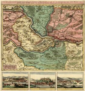Nieuwe en Accurate Caart van de Omleggende Lande van Belgrado, ale mede des selss Belegeringh, ende Marse der Keyserlyke Armée A. 1717