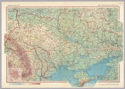 U.S.S.R. - Moldvian, Ukrainian S.S.R.  Pergamon World Atlas.