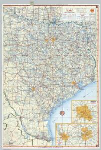 Shell Highway Map of Texas (eastern portion).