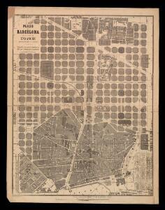 Plano de Barcelona con la parte de Ensanche que se está edificando en la actualidad / publicado con especial autorizacion del Esmo. Sr. Gobernador de la provincia; es propiedad de J.R. y B. ; R. Tarragó litografió