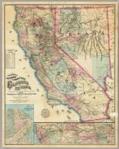 Topographical Railroad & County Map Of The States Of California And Nevada.
