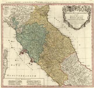 Statvs Ecclesiastici nec non Magni Dvcatvs Toscanae nova Tabvla Geographica