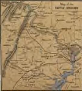 Map of the Battle Ground, showing 5 mile distances from Washington