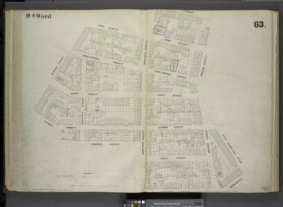 [Plate 63: Map bounded by Amos Street, Charles Street, West 4th Street, West Washington Place, Sixth Avenue Cornelia Street, Bleecker Street, Carmine [Commerce] Street, Barrow Street, Hudson Street.]