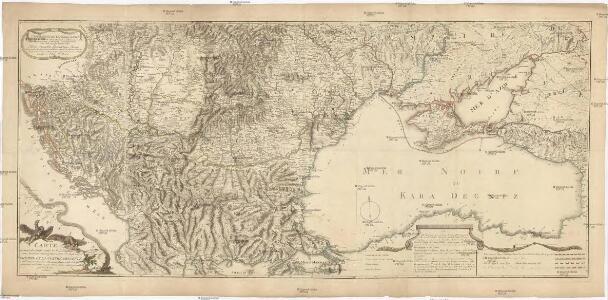 Geographische General Karte der Gränzen zwischen denen dreyen Kaiserthümern und ihren nach und nach geschehenen Veränderungen von Jahr 1718 bis heütigen Tags oder Kriegs Schauplatz gegenwärtigen Kriegs