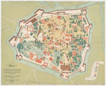 Plan der befestigungen u. der hohenverhältnisse der häuser wer stadt Wien im Jahre 1566 : mit zugrundelegung der pläne von Bonifaz Wolmuet und Daniel Suttinger und mite benützung gleichzeitiger handschriftlicher quellen