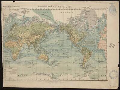 Planisphère physique. Atlas Grosselin-Delamarche