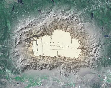 Lake Tahoe map art mosaic.