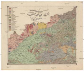 Geognostische Karte der Gegend zwischen Kommotau, Saaz, Raudnitz & Tetschen