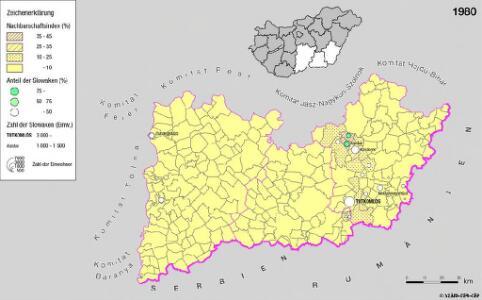 Siedlungsgebiet der Slowaken nach dem Nachbarschaftsindex für die Südliche Tiefebene 1980