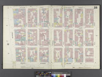 Manhattan, V. 1, Double Page Plate No. 25 [Map bounded by Rivington St., Essex St., Grand St., Bowery]