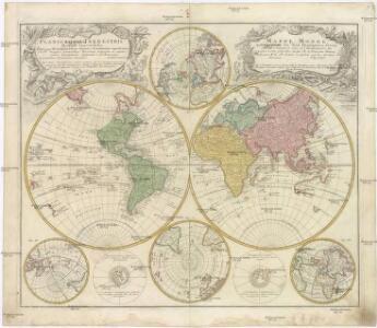 Planiglobii terrestris mappa vniversalis utrumq[ue] hemisphaerium orient. et occidentale repraesentans