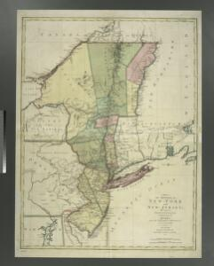 A map of the provinces of New-York and New Jersey : with a part of Pennsylvania and the Province of Quebec / from the topographical observations of C. J. Sauthier ; engraved and published by Matthew Albert Lotter.