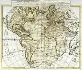 Carte physique de l'ocean où l'on voit des grandes chaînes de montagnes qui traversent les continents d'Europe, d'Afrique et d'Amérique