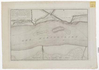 Kaart van het Haringvliet en rheede voor Hellevoetsluis, met projecten boven en beneden de Hoornsche Hoofden