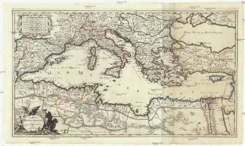 La mer Mediterranée divisée en ses principales parties ou mers
