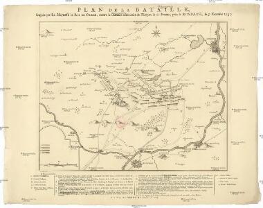 Plan de la bataille, gagnée par Sa Majesté le roi de Prusse, contre les armées combinées de l'empire & de France, prés de Rosbach, le 5. novembre 1757
