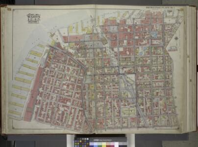 Brooklyn, Vol. 1, Double Page Plate No. 1; Part of Wards 1, 2, 4 & 5, Section 1; [Map bounded by East River, Gold St., Hudson Ave., Little St.; Including Navy St., Johnson St., Pierrepont St.]; Sub Plan No. 1; [Map bounded by Hudson Ave., East River, ...