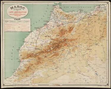 Maroc au 1 500 000e. Carte aéronautique donnant les caps et distances des principaux itinéraires