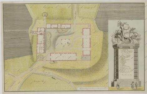 Půdorysný plán dvora Dehetník, parerga s hospodářskými nástroji a třemi postavami v dobových krojích 1