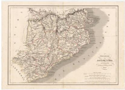 Provincias de Barcelona y Gerona : parte de Cataluña / grabado por R. Alabern y E. Mabon