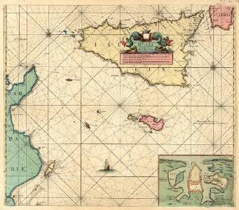 Nieuwe Paskaert van de Zee kusten van't Eylandt Sicilia En de tegen over Geleegende Kusten van Barbaria Tusschen C. Bona en I. Zerbi