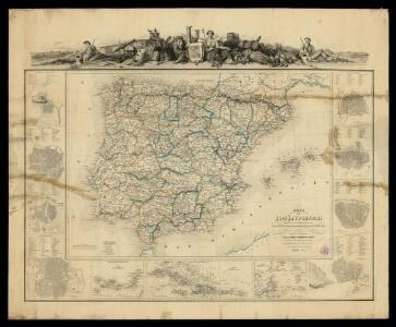 Mapa de España y Portugal: dividido en sus actuales provincias y orlado con los de las posesiones ultramarinas españolas y los planos de las principales ciudades