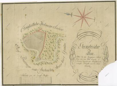 Geometrický plán pozemků hamerského učitele, ležících na řece Lužnici u Ponědraže
