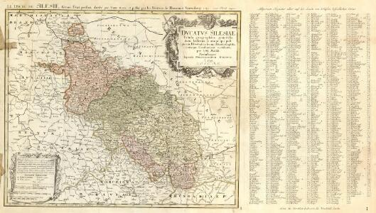 Ducatus Silesiae Tabula geographica generalis statui hodierno, ei nempe qui post pacem Dresdensem locum obtinet =