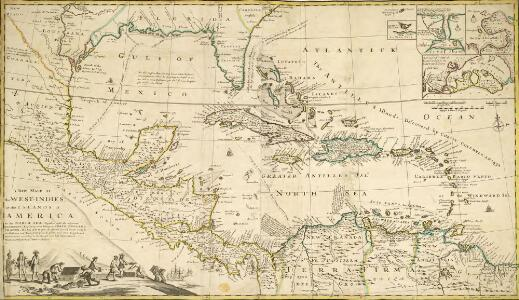 A NEW MAPP of the WEST INDIES, or the ISLANDS of AMERICA in the NORTH SEA; Together with the adjacent DOMINIONS; Explaining what belongs to SPAIN, ENGLAND, FRANCE, HOLLAND &C. As also the severall Tracts made by the Gallions and Flota from place to place,