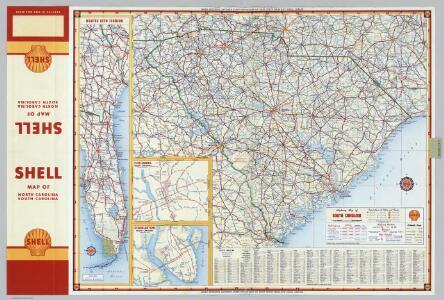 Shell Highway Map of South Carolina.