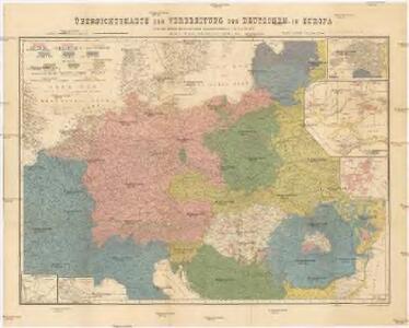 Übersichtskarte der Verbreitung der Deutschen in Europa