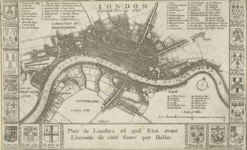 Plan de Londres tel quil Etoit avant l' incendre de 1666 Grave par Hollar