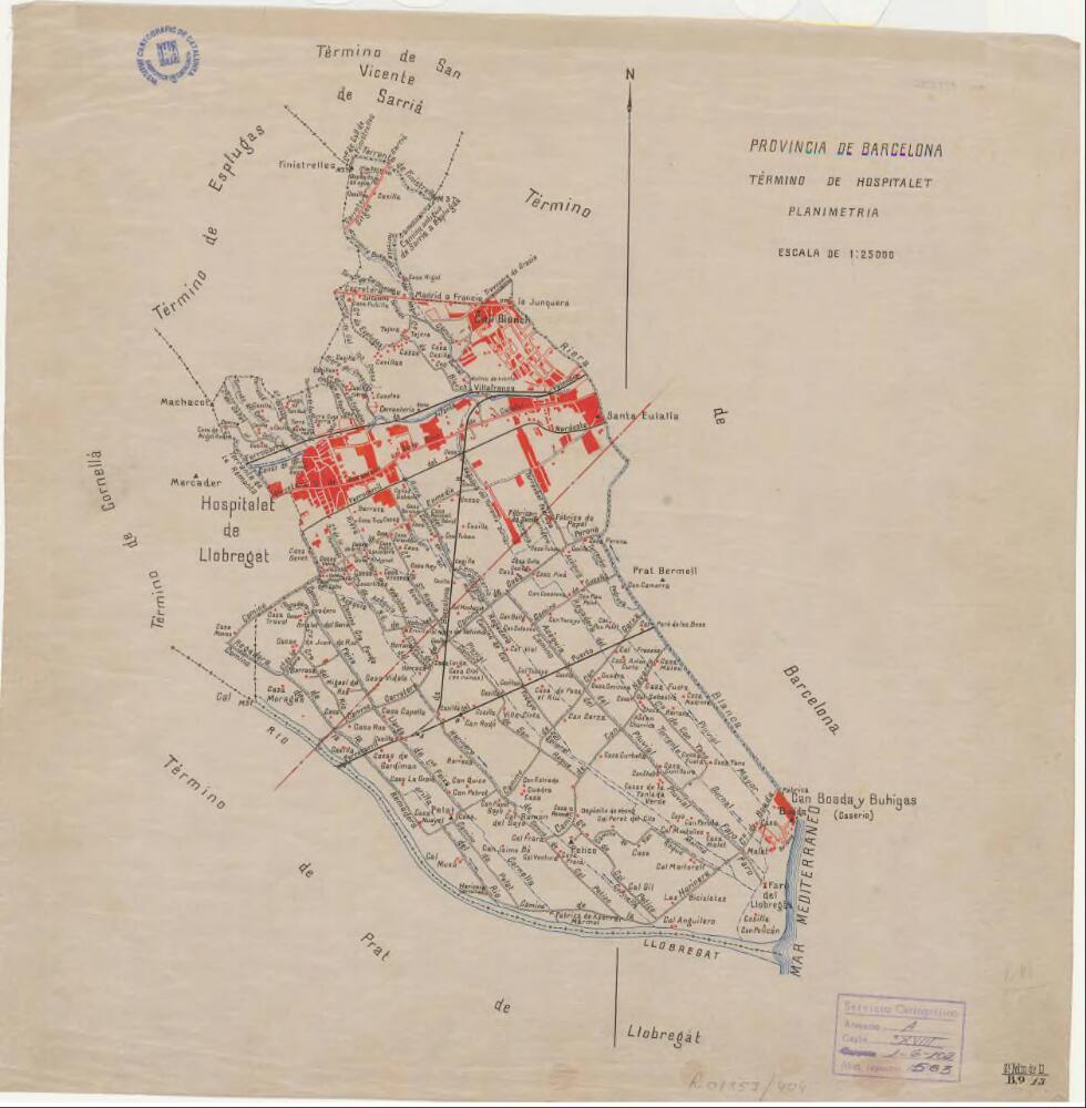 Mapa De L Hospitalet.Mapa Planimetric De L Hospitalet De Llobregat